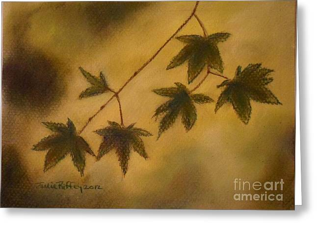 Silhouettes Pastels Greeting Cards - Japanese Maple Leaves Greeting Card by Julie Brugh Riffey