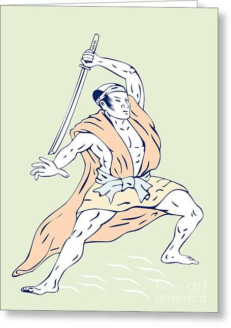 Brandishing Greeting Cards - Japanese Samurai Greeting Card by Aloysius Patrimonio