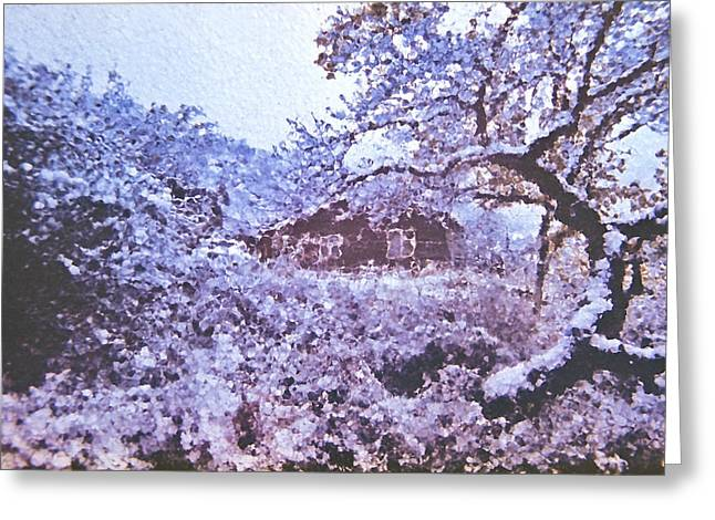 """""""japan House"""" Greeting Cards - Japanese story Greeting Card by Andrew Shlykoff"""