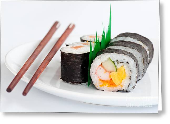 Wasabi Greeting Cards - Japanese Sushi Traditional Food With Chopsticks Greeting Card by Tul Chalothonrangsee