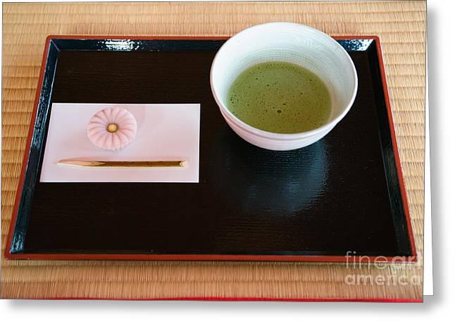Tatami Greeting Cards - Japanese Tea Ceremony Greeting Card by Ei Katsumata
