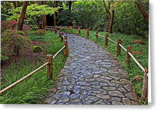 Japanese Photographs Greeting Cards - Japanese tea garden path Greeting Card by Garry Gay