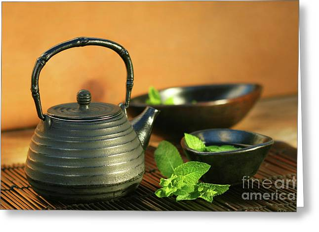 Hot Iron Greeting Cards - Japanese teapot and cup  Greeting Card by Sandra Cunningham