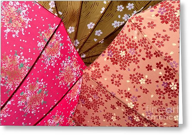 Kyoto Greeting Cards - Japanese Umbrellas 1 Greeting Card by Dean Harte