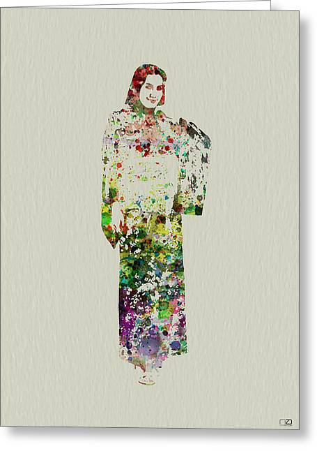 Japanese Woman Dancing Greeting Card by Naxart Studio