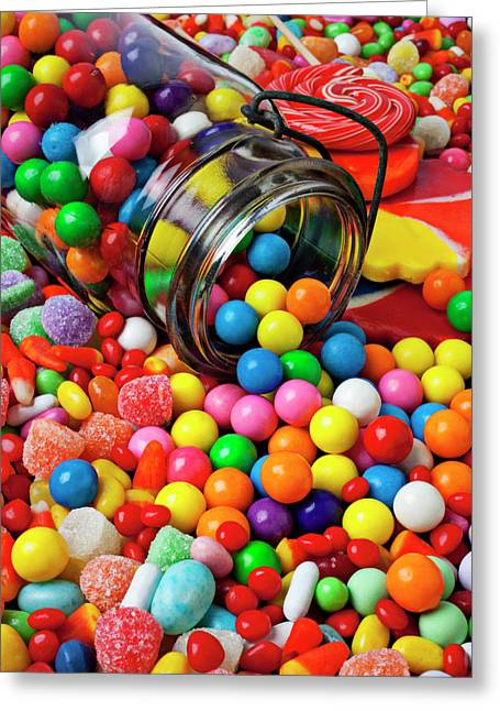 Close In Greeting Cards - Jar spilling bubblegum with candy Greeting Card by Garry Gay