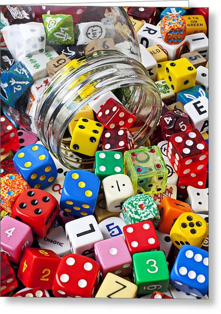 Jars Greeting Cards - Jar Spilling Dice Greeting Card by Garry Gay