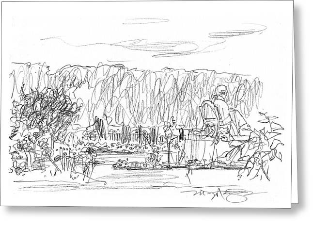 Garden Scene Drawings Greeting Cards - Jardin des Plantes Greeting Card by Marilyn MacGregor