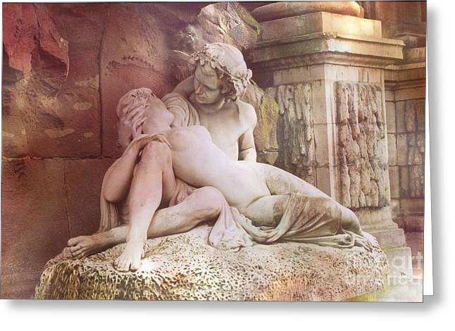 Fountain Photograph Greeting Cards - Jardin du Luxembourg Gardens - Medici Fountain Lovers Greeting Card by Kathy Fornal