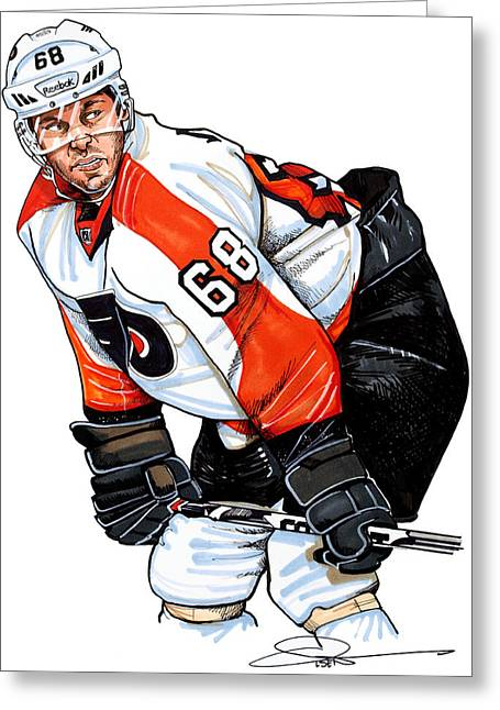 Philadelphia Flyers Drawings Greeting Cards - Jaromir Jagr Greeting Card by Dave Olsen