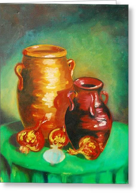 Water Jars Paintings Greeting Cards - Jars Greeting Card by Matthew Doronila