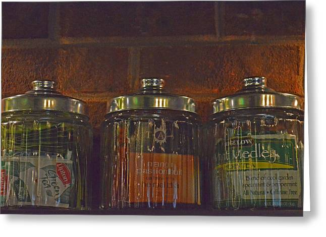 Jars Of Assorted Teas Greeting Card by Sandi OReilly