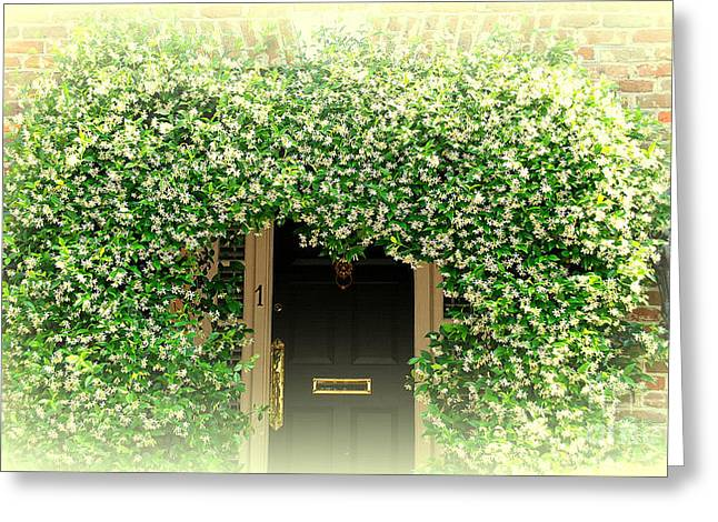 Jasmine Greeting Cards - Jasmine Covered House Door in Charleston SC Greeting Card by Susanne Van Hulst