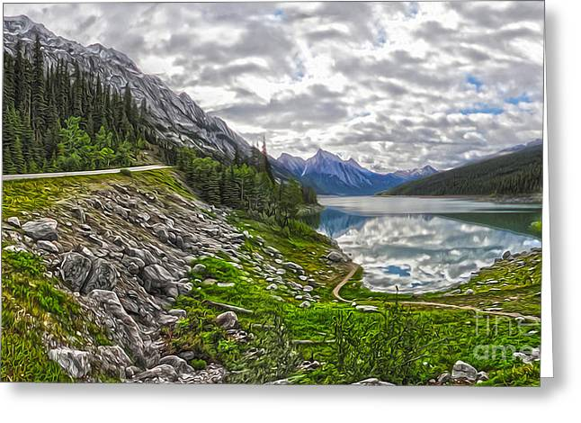 Gregory Dyer Greeting Cards - Jasper National Park - Medicine Lake Greeting Card by Gregory Dyer