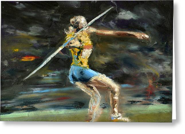 Olympics Pastels Greeting Cards - Javelin Thrower Greeting Card by Paul Mitchell