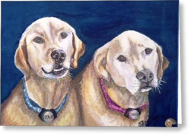 Mixed Labrador Retriever Mixed Media Greeting Cards - Jax and Nola Greeting Card by DJ Laughlin