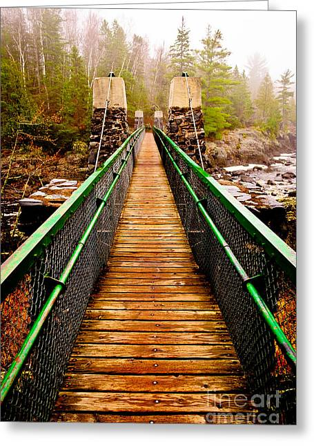 Cooke Greeting Cards - Jay Cooke Hanging Bridge In Fog Greeting Card by Shutter Happens Photography