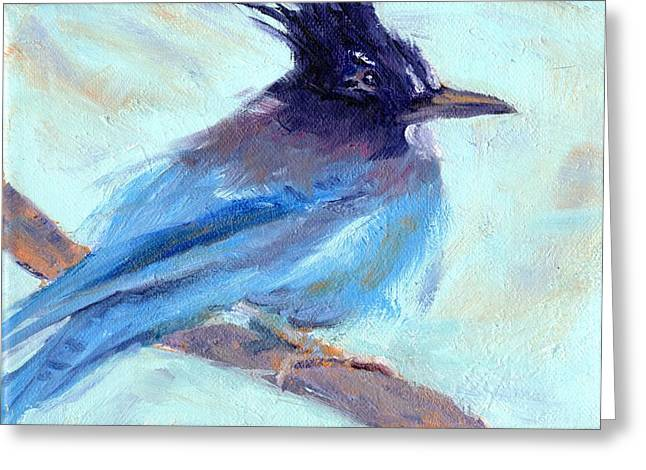 Facing Pastels Greeting Cards - Jay To The Right Greeting Card by Cheryl Whitehall