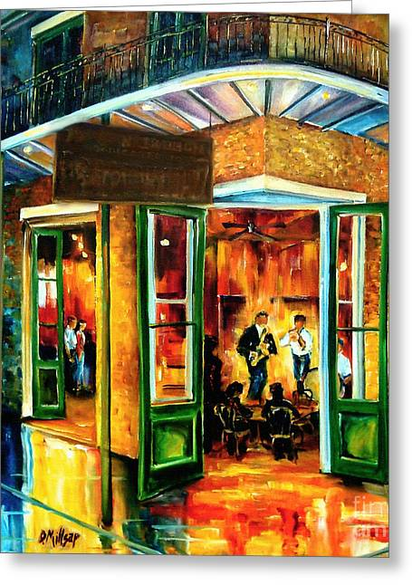 French Quarter Doors Greeting Cards - Jazz at the Maison Bourbon Greeting Card by Diane Millsap