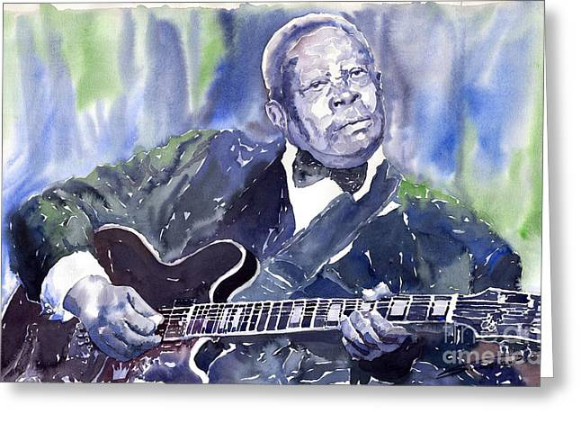 Watercolour Paintings Greeting Cards - Jazz B B King 01 Greeting Card by Yuriy  Shevchuk