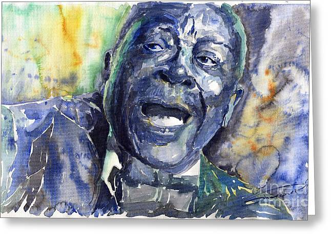 King Greeting Cards - Jazz B B King 04 Blue Greeting Card by Yuriy  Shevchuk
