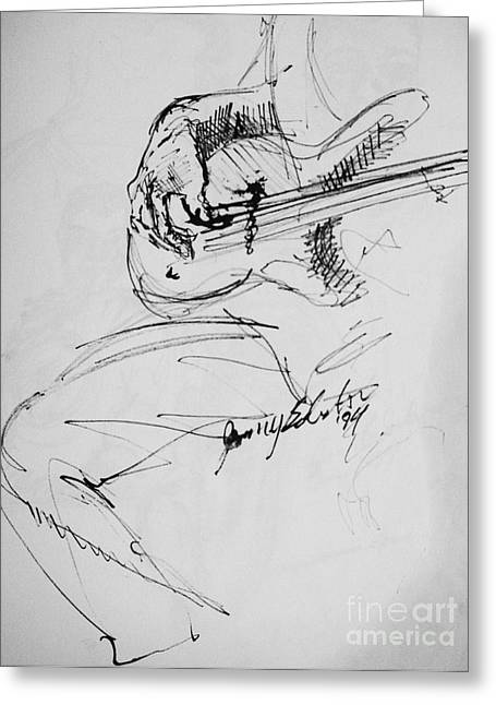 Jazz Drawing Greeting Cards - Jazz Bass Guitarist Greeting Card by Jamey Balester