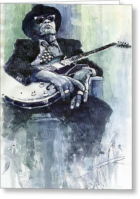 Jazz Greeting Cards - Jazz Bluesman John Lee Hooker 04 Greeting Card by Yuriy  Shevchuk