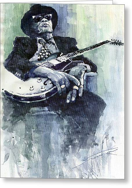 Lee Greeting Cards - Jazz Bluesman John Lee Hooker 04 Greeting Card by Yuriy  Shevchuk