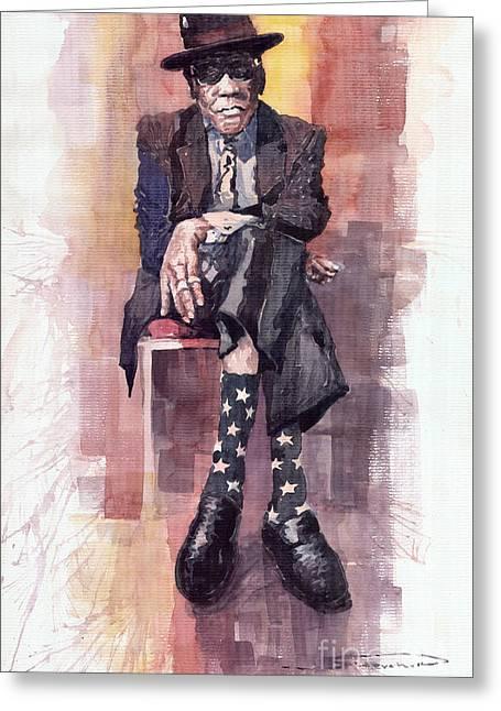 Guitarist Greeting Cards - Jazz Bluesman John Lee Hooker Greeting Card by Yuriy  Shevchuk