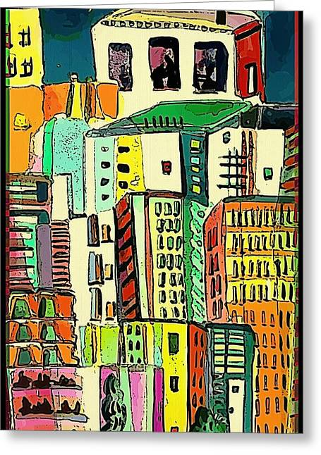 Jazz City Greeting Card by Mindy Newman