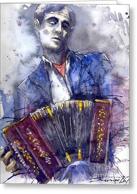 Jazz Greeting Cards - Jazz Concertina player Greeting Card by Yuriy  Shevchuk
