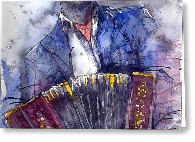 Jazz Concertina player Greeting Card by Yuriy  Shevchuk