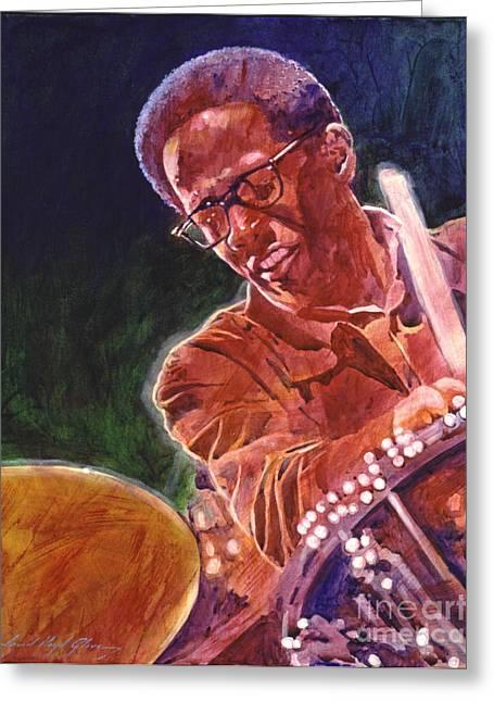 Drummer Paintings Greeting Cards - Jazz Drummer Brian Blades Greeting Card by David Lloyd Glover
