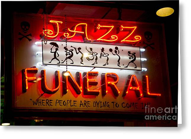 Leslie Leda Greeting Cards - Jazz Funeral Greeting Card by Leslie Leda