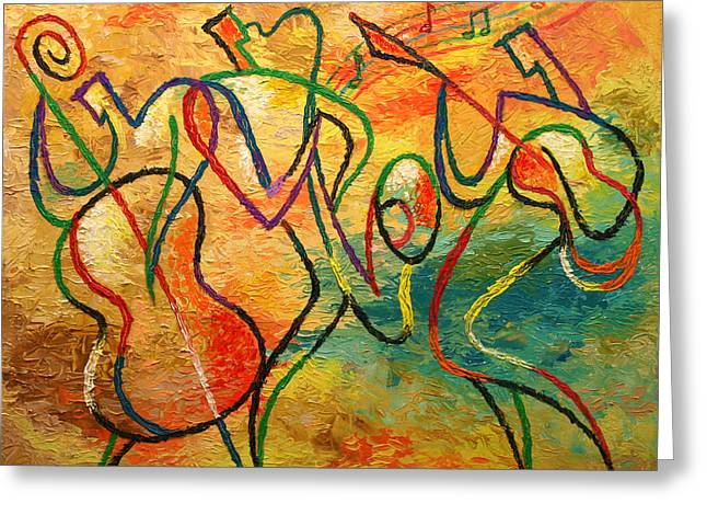 Free Form Paintings Greeting Cards - Jazz-funk Greeting Card by Leon Zernitsky