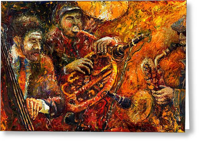 Trumpeters Greeting Cards - Jazz Gold Jazz Greeting Card by Yuriy  Shevchuk