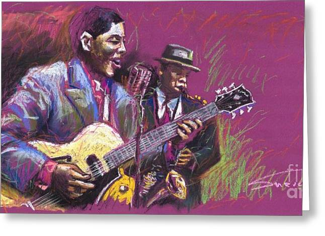 Instruments Greeting Cards - Jazz Guitarist Duet Greeting Card by Yuriy  Shevchuk
