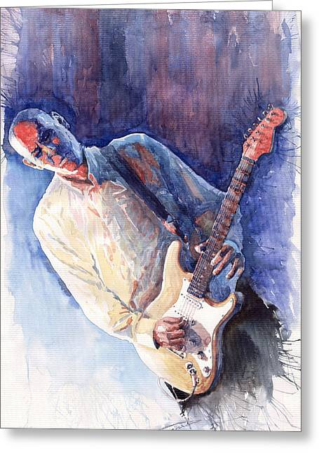 Rene Greeting Cards - Jazz Guitarist Rene Trossman Greeting Card by Yuriy  Shevchuk