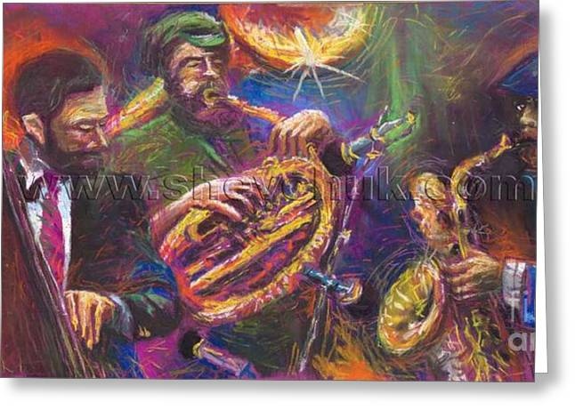 Instruments Greeting Cards - Jazz Jazzband Trio Greeting Card by Yuriy  Shevchuk