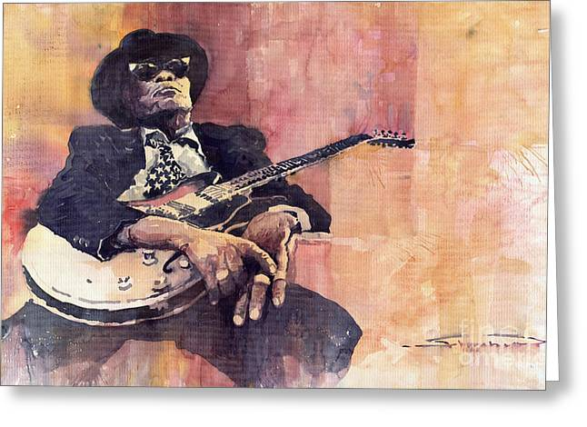 Guitarist Greeting Cards - Jazz John Lee Hooker Greeting Card by Yuriy  Shevchuk