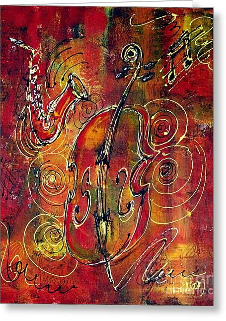 Stand Up Bass Greeting Cards - Jazz Greeting Card by Linda Halom
