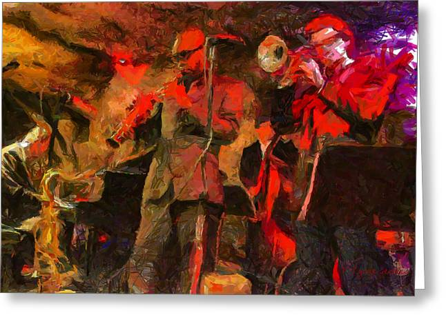 Microphone Stand Greeting Cards - Jazz Greeting Card by Lynne Jenkins