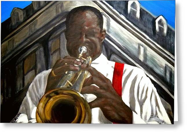 Jazz Trumpet Greeting Cards - Jazz Man Greeting Card by JoAnn Wheeler