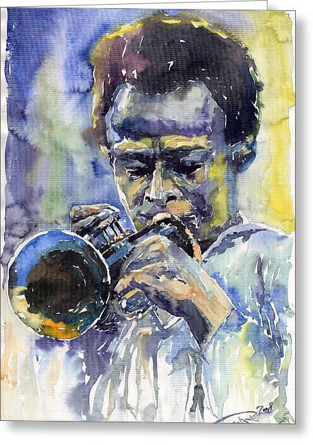 African American Man Greeting Cards - Jazz Miles Davis 12 Greeting Card by Yuriy  Shevchuk