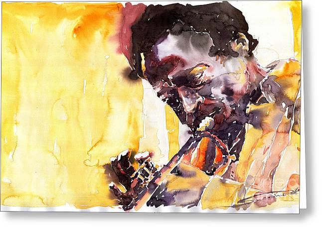 Trumpeters Greeting Cards - Jazz Miles Davis 6 Greeting Card by Yuriy  Shevchuk