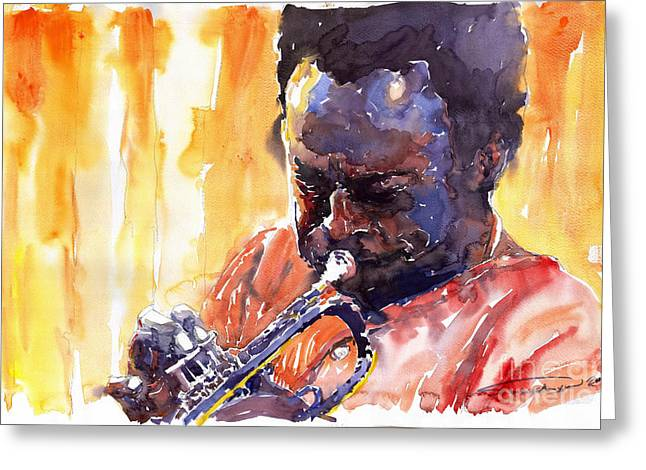 Trumpeters Greeting Cards - Jazz Miles Davis 8 Greeting Card by Yuriy  Shevchuk