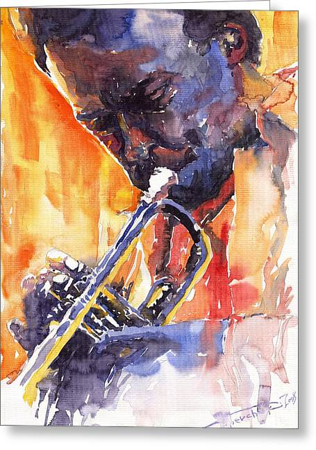 Trumpeters Greeting Cards - Jazz Miles Davis 9 Red Greeting Card by Yuriy  Shevchuk
