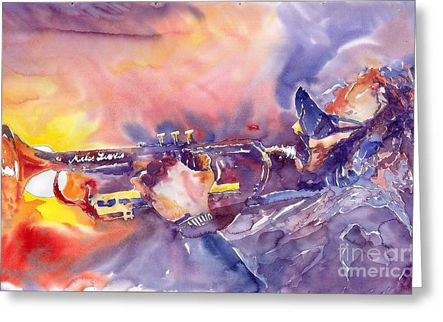 Trumpeters Greeting Cards - Jazz Miles Davis ELECTRIC 1 Greeting Card by Yuriy  Shevchuk