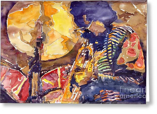 Trumpeters Greeting Cards - Jazz Miles Davis ELECTRIC 2 Greeting Card by Yuriy  Shevchuk