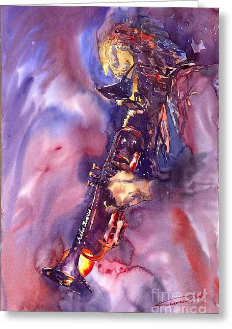 Watercolour Paintings Greeting Cards - Jazz Miles Davis ELECTRIC 3 Greeting Card by Yuriy  Shevchuk